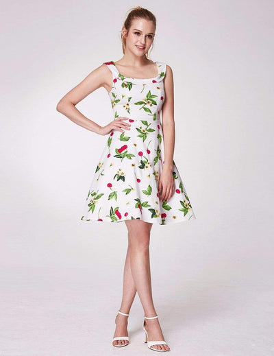 Alisa Pan Short Cherry Print Fit and Flare Dress