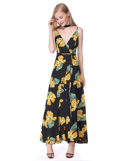 Alisa Pan V Neck Floral Print Maxi Dress