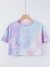 Women'S Sexy Open-Navel T-Shirt With Short Sleeves-Tie-Dye Dark Purple-Blue-Pink 1