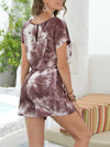 Fashion Cool Tie-Dye One-Piece Jumpsuit With Short Sleeves-Coffee 2