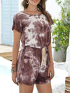 Fashion Cool Tie-Dye One-Piece Jumpsuit With Short Sleeves-Coffee 3
