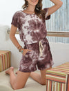 Fashion Cool Tie-Dye One-Piece Jumpsuit With Short Sleeves-Coffee 4