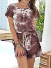 Fashion Cool Tie-Dye One-Piece Jumpsuit With Short Sleeves-Coffee 1