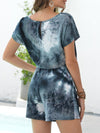 Fashion Cool Tie-Dye One-Piece Jumpsuit With Short Sleeves-Dark Green 2