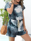 Fashion Cool Tie-Dye One-Piece Jumpsuit With Short Sleeves-Dark Green 3