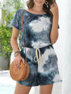 Fashion Cool Tie-Dye One-Piece Jumpsuit With Short Sleeves-Dark Green 1