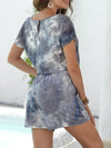 Fashion Cool Tie-Dye One-Piece Jumpsuit With Short Sleeves-Grey 2