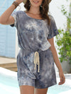 Fashion Cool Tie-Dye One-Piece Jumpsuit With Short Sleeves-Grey 3