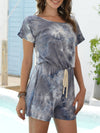 Fashion Cool Tie-Dye One-Piece Jumpsuit With Short Sleeves-Grey 4