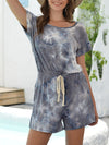 Fashion Cool Tie-Dye One-Piece Jumpsuit With Short Sleeves-Grey 1
