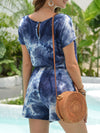 Fashion Cool Tie-Dye One-Piece Jumpsuit With Short Sleeves-Sapphire Blue 2