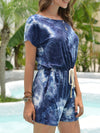 Fashion Cool Tie-Dye One-Piece Jumpsuit With Short Sleeves-Sapphire Blue 3