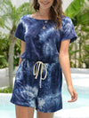 Fashion Cool Tie-Dye One-Piece Jumpsuit With Short Sleeves-Sapphire Blue 4