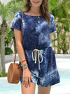 Fashion Cool Tie-Dye One-Piece Jumpsuit With Short Sleeves-Sapphire Blue 1