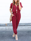 Fashion Short Sleeves V Neck Drawstring Waist Long Jumpsuit-Burgundy 1
