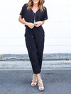 Fashion Short Sleeves V Neck Drawstring Waist Long Jumpsuit-Black 1
