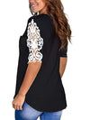 Women'S Tops Lace Short-Sleeved V-Neck T-Shirt Loose And Casual-Black 2