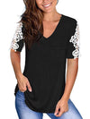 Women'S Tops Lace Short-Sleeved V-Neck T-Shirt Loose And Casual-Black 3