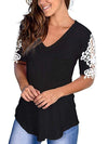Women'S Tops Lace Short-Sleeved V-Neck T-Shirt Loose And Casual-Black 1