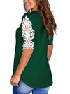 Women'S Tops Lace Short-Sleeved V-Neck T-Shirt Loose And Casual-Green 2