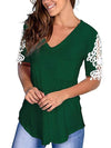 Women'S Tops Lace Short-Sleeved V-Neck T-Shirt Loose And Casual-Green 1