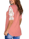 Women'S Tops Lace Short-Sleeved V-Neck T-Shirt Loose And Casual-Pink 2