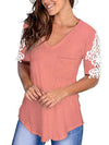 Women'S Tops Lace Short-Sleeved V-Neck T-Shirt Loose And Casual-Pink 3