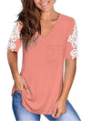 Women'S Tops Lace Short-Sleeved V-Neck T-Shirt Loose And Casual-Pink 1