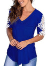 Women'S Tops Lace Short-Sleeved V-Neck T-Shirt Loose And Casual-Sapphire Blue 2