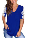 Women'S Tops Lace Short-Sleeved V-Neck T-Shirt Loose And Casual-Sapphire Blue 1