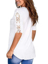 Women'S Tops Lace Short-Sleeved V-Neck T-Shirt Loose And Casual-White 2