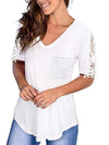 Women'S Tops Lace Short-Sleeved V-Neck T-Shirt Loose And Casual-White 1