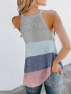 Vest Summer Stripes Hanging Neck Round Neck Sleeveless Knitted Top-Sky Blue 2