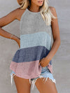 Vest Summer Stripes Hanging Neck Round Neck Sleeveless Knitted Top-Sky Blue 1