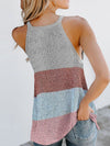 Vest Summer Stripes Hanging Neck Round Neck Sleeveless Knitted Top-White 2