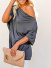 Women'S Elegant One Shoulder Shirt With Half Sleeves-Deep Grey 3