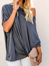Women'S Elegant One Shoulder Shirt With Half Sleeves-Deep Grey 4