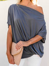 Women'S Elegant One Shoulder Shirt With Half Sleeves-Deep Grey 1