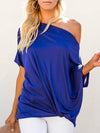 Women'S Elegant One Shoulder Shirt With Half Sleeves-Sapphire Blue 3