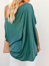 Women'S Elegant One Shoulder Shirt With Half Sleeves-Teal 2