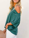 Women'S Elegant One Shoulder Shirt With Half Sleeves-Teal 3