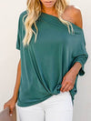 Women'S Elegant One Shoulder Shirt With Half Sleeves-Teal 4
