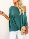Women'S Elegant One Shoulder Shirt With Half Sleeves-Teal 1