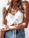 Women'S Knitted Sexy Crop Top With Drawstring-White 3