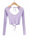 Long Sleeves Deep V Neck Backless Crop Top For Women-Purple 1