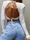 Long Sleeves Deep V Neck Backless Crop Top For Women-White 2