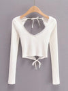 Long Sleeves Deep V Neck Backless Crop Top For Women-White 4