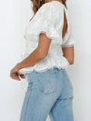 Women'S Elegant Embroidered Lace Up Flared Sleeve Blouse-White 3