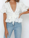 Women'S Elegant Embroidered Lace Up Flared Sleeve Blouse-White 4