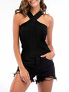 Sexy Cross Neck Knitted Sleeveless Summer Top For Women-Black 1